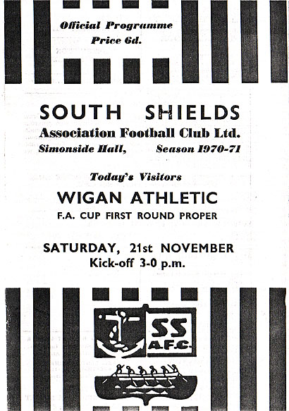 old photograph of South Shields v Wigan Athletic FC ...