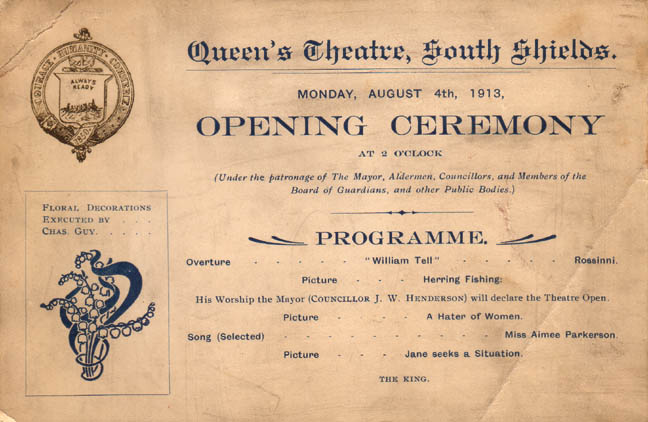 Old cinemas page 2 south shields sanddancers forum image queens theatre opening invitation card stopboris Image collections