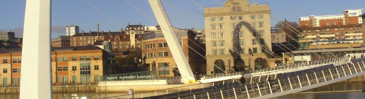 photograph of the River Front at Newcastle Quayside and foot bridge