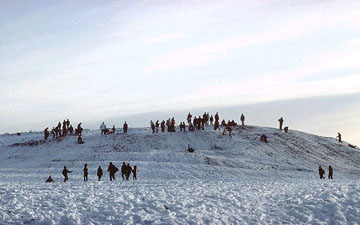 picture of sledding on cleadon hills